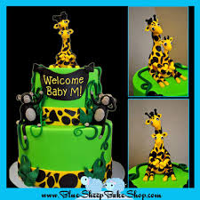 Baby Shower Giraffe Custom Cake Blue Sheep Bake Shop