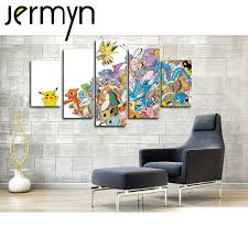 wall mural painting promotion shop for promotional wall mural jermyn 5 piece wall art pokemon go cartoon game pikachu oil painting for kids rooms wall canvas decals poster nursery mural