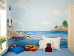 fresque murale chambre bébé murale chambre enfant paysage marin phare
