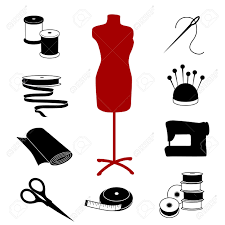 sewing and tailoring icons fashion model tools supplies for
