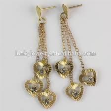 anting emas 24 karat gadis wanita emas jantung bentuk tongkat panjang anting anting