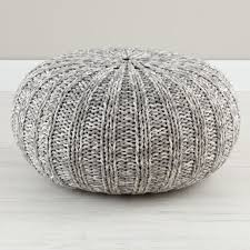 Knit Ottoman Pouf Variegated Grey Pouf In Bean Bag Poufs Reviews Crate And Barrel