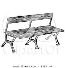 clipart of a vintage black and white old bench royalty free