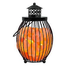 himalayan light salt crystal l himalayan glow ionic salt crystal metal olivary lantern bed bath