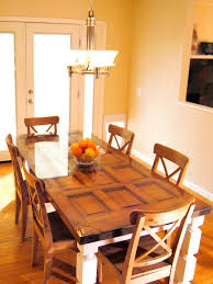 how to build a dining table from an old door and posts hgtv