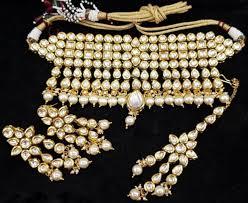 indian bridal necklace sets images White pearl kundan gold tone indian bollywood choker necklace set jpg