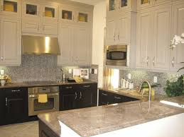 two tone kitchen cabinets grey and white dark color countertop