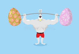 sports easter eggs strong rabbit holding barbell and easter eggs sports for hare