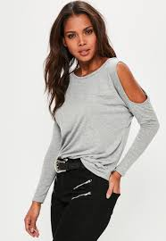 cold shoulder tops cold shoulder tunic top grey missguided
