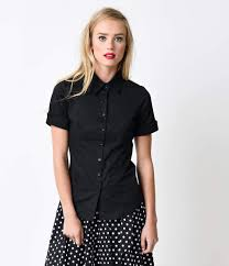 black button blouse black collared sleeve button up blouse unique vintage