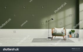 minimalist interior designgreen living room 3d stock illustration