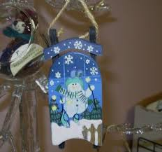 sled and snowman ornament painted decor new
