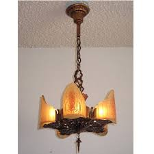 beautiful 5 light vintage ceiling fixture in the art deco to arts