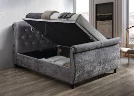 Velvet Sleigh Bed Toulouse Crushed Velvet Side Ottoman Sleigh Bed Oak Furniture Uk