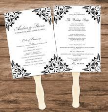 Program Fan Template Wedding Program Fan Template Diy Black And White Elegant