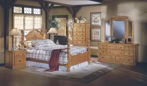 pine all wood country style bedroom w hand carved wood accents