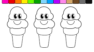 learn colors for kids and color smiley face double ice cream cones