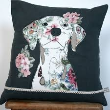 Cushion Pets What I Always Wanted Linen Cushion With Appliqued Dalmatian Dog