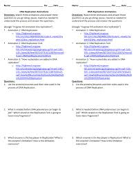 Mcgraw Hill Worksheet Answers Dna Replication Worksheet U2013 Watch The Animations And Answer