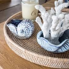 hamptons coastal style blue and white cowrie shell home decor 16cm