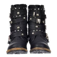 black biker boots dolcis military style ankle biker boot metal studded buckle