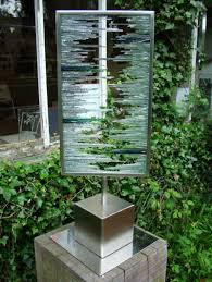 sculpture splintered vision rectangular abstract glass garden