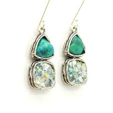 unique earrings glass and silver earrings turquoise and silver unique