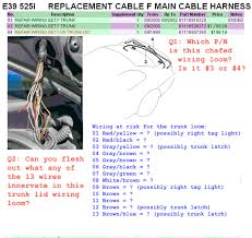 e39 electrical problems traced to trunk lid harness wire chafing
