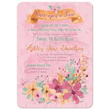 fairy tale floral sweet 16 invitation orange pink mint