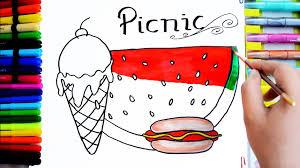 draw color paint picnic watermelon icecream hotdog coloring