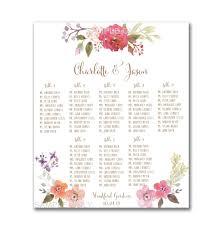 Wedding Seating Chart Template Wedding Table Seating Chart Printable 50 130 Guests