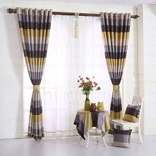 Yellow Stripe Curtains Modern Yellow And Coffee Horizontal Striped Curtains