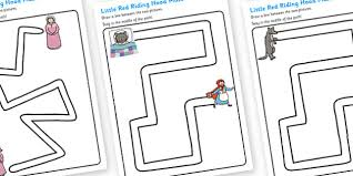 red riding hood pencil control path worksheets pencil