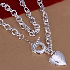 heart chain necklace silver images 18 39 39 925 sterling silver plated copper danling couple heart jpg