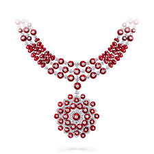 ruby bead necklace images Ruby bead and diamond necklace graff png