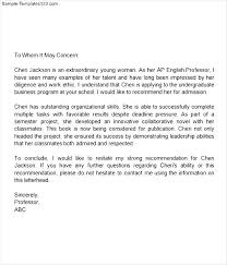 ideas of middle recommendation letter for student about