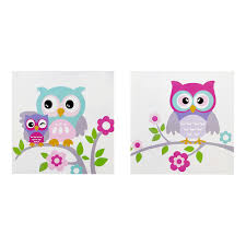 zone kids nocturnal nellie owl wall art 2 piece set