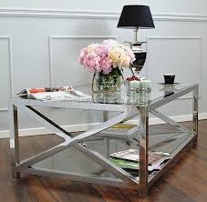 Criss Cross Coffee Table Stolik Kawowy Stal Nierdzewna Szklany Srebrny Criss Cross ława