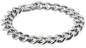 steel chain bracelet images Men 39 s stainless steel curb chain bracelet 9 quot link jpg