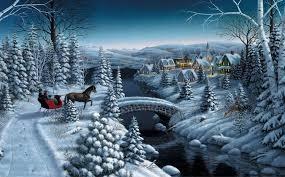 mark daehlin peace on earth painting winter snow spruce christmas