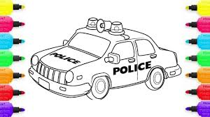 how to draw police car coloring pages for kids youtube videos
