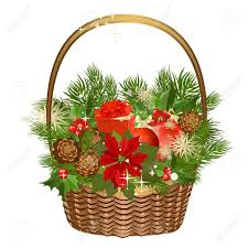 gift basket with flowers and christmas toys royalty free cliparts