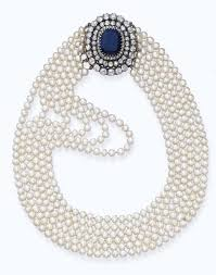 sapphire pearl necklace images An antique natural pearl necklace with sapphire and diamond clasp jpg