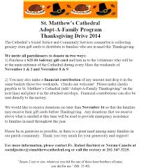 adopt a family thanksgiving drive cathedral of st matthew the