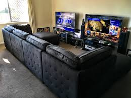 L Shaped Desk Gaming Setup by His U0026 Hers Gaming Setup Gaming Setup Gaming And Game Rooms