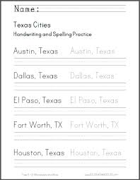 texas cities handwriting practice worksheet student handouts
