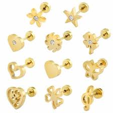 gold earrings for babies gold plated stud earrings baby girl style surgical steel kid ear