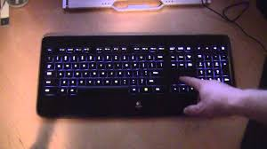 light up wireless keyboard logitech k800 wireless illuminated keyboard in action youtube