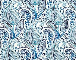 Blue Paisley Curtains Paisley Curtains Etsy