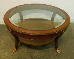Glass And Wood Coffee Table by Round Brown Wood Coffee Table With Glass Top And Shelf Completed